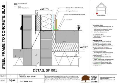 Steel Frame to Concrete Slab - Passive House Systems