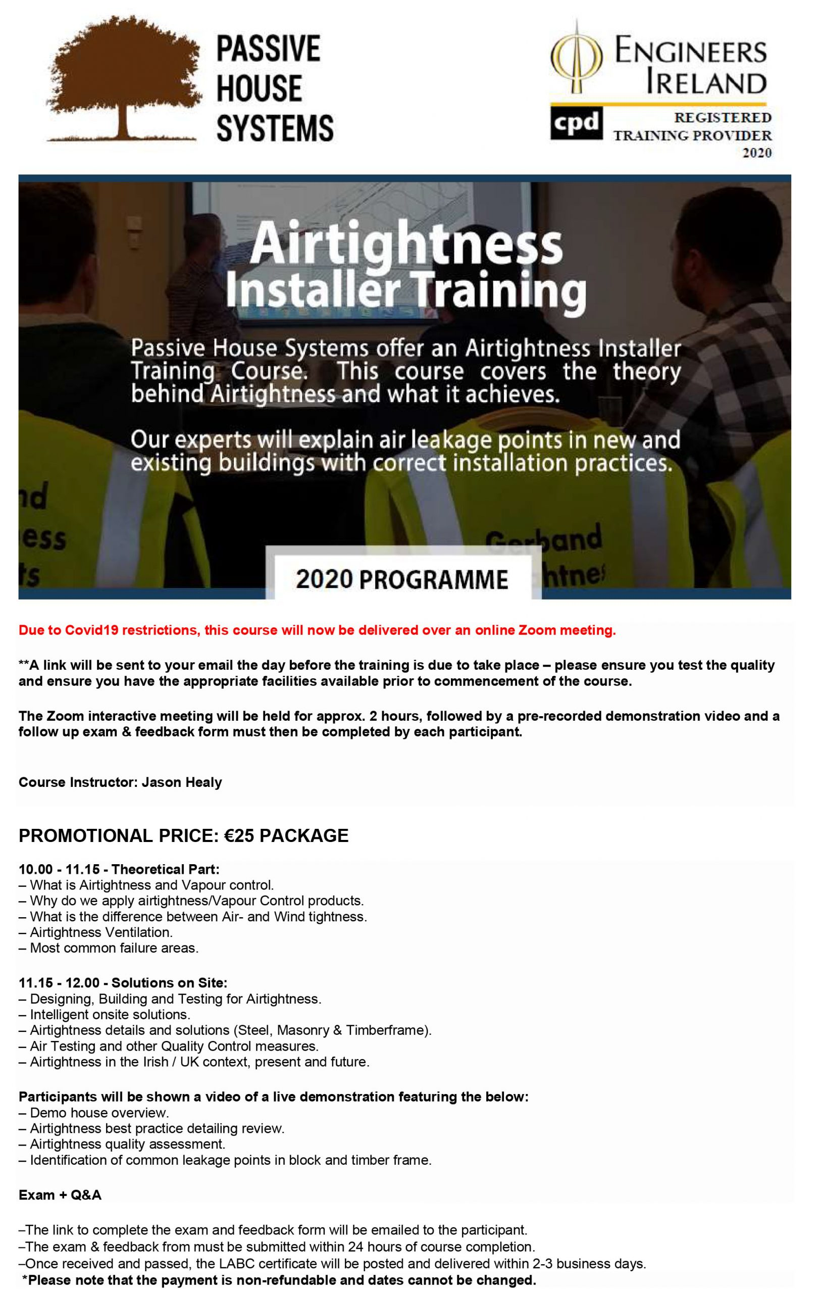 Engineers Ireland Certified Airtightness Training